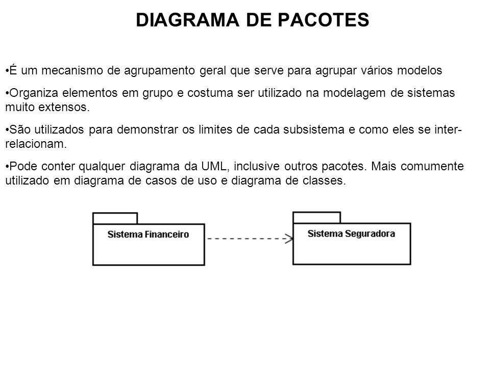 DIAGRAMA DE PACOTES É um mecanismo de agrupamento geral que serve para agrupar vários modelos Organiza elementos em grupo e costuma ser utilizado na m