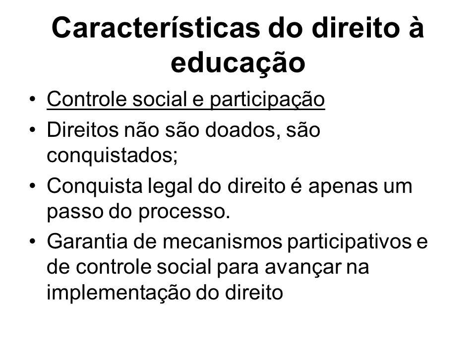 Características do direito à educação Controle social e participação Direitos não são doados, são conquistados; Conquista legal do direito é apenas um