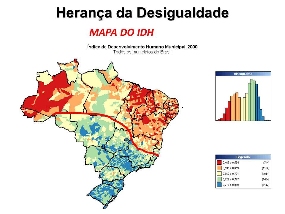 Herança da Desigualdade MAPA DO IDH