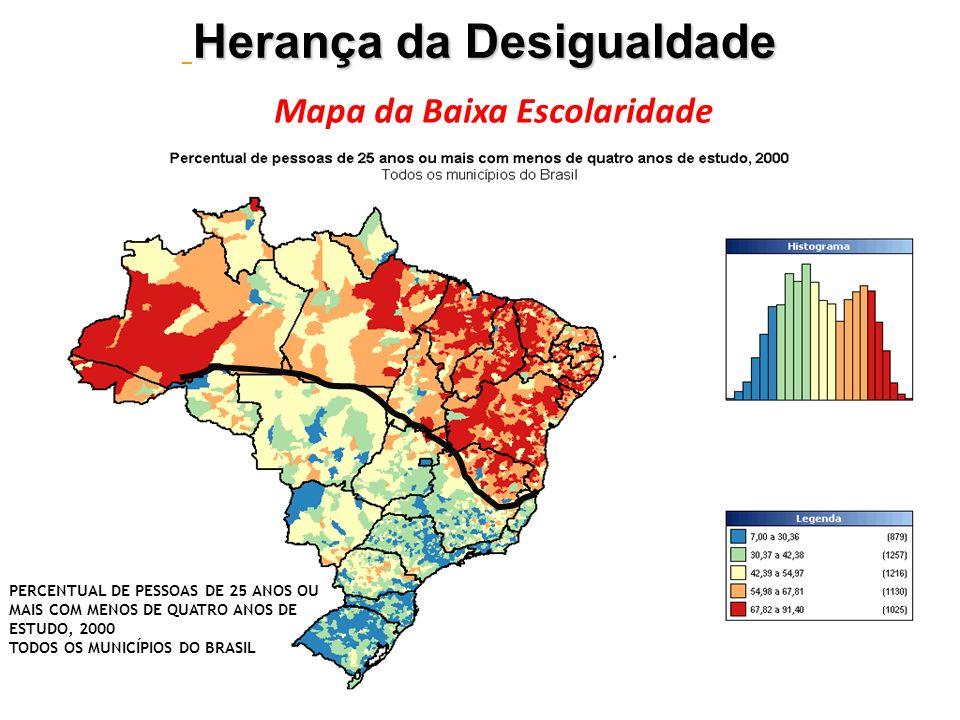 PERCENTUAL DE PESSOAS DE 25 ANOS OU MAIS COM MENOS DE QUATRO ANOS DE ESTUDO, 2000 TODOS OS MUNICÍPIOS DO BRASIL Herança da Desigualdade Mapa da Baixa