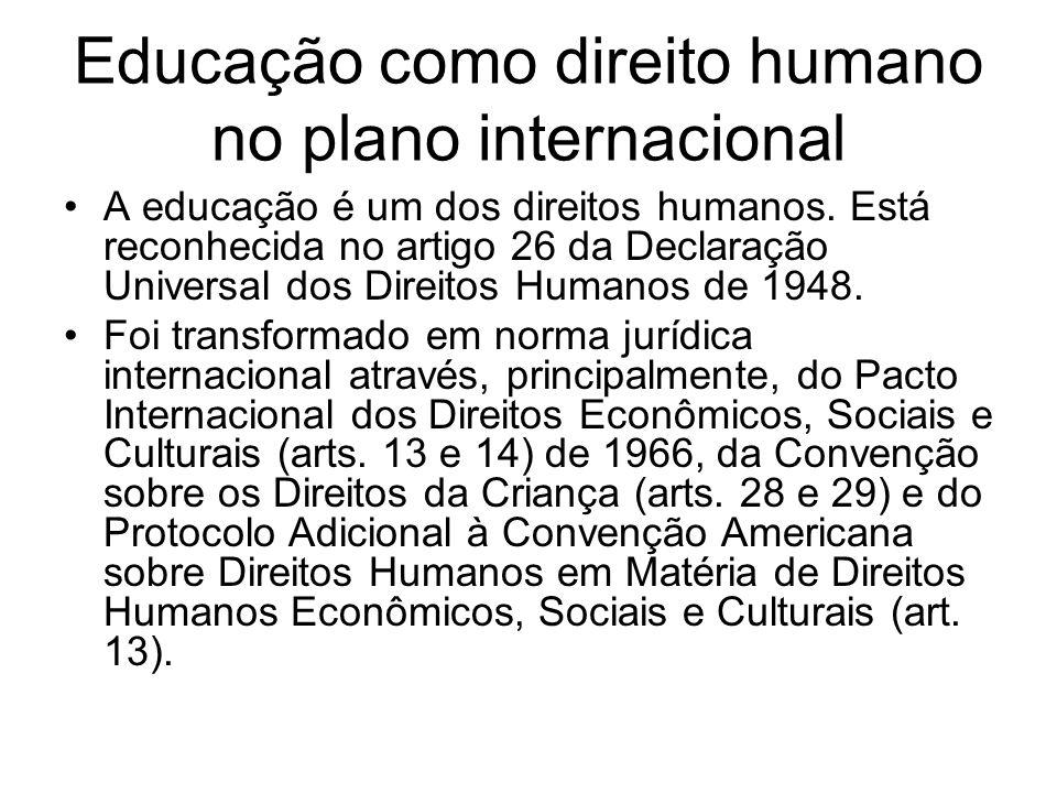 Educação como direito no Brasil No Brasil, está reconhecido como um direito social na Constituição de 1988; na Lei de Diretrizes e Bases da Educação Nacional – LDB de 1988; no Plano Nacional de Educação de 2001; Estatuto da Criança e do Adolescente – ECA de 1990