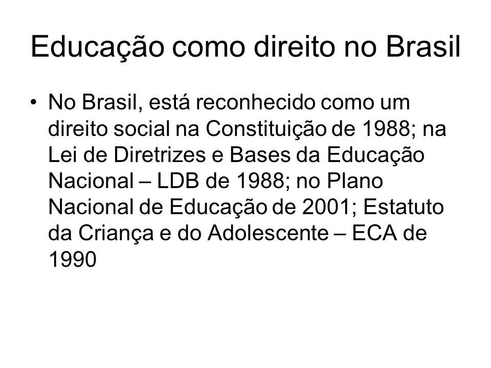 Educação como direito no Brasil No Brasil, está reconhecido como um direito social na Constituição de 1988; na Lei de Diretrizes e Bases da Educação N