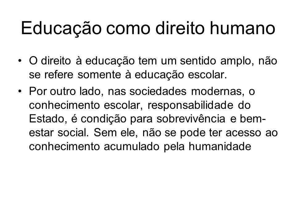 Educação como direito humano O direito à educação tem um sentido amplo, não se refere somente à educação escolar. Por outro lado, nas sociedades moder