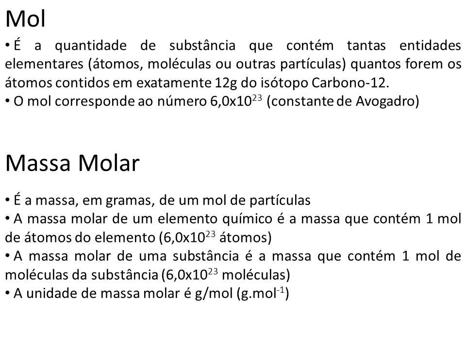 Mol É a quantidade de substância que contém tantas entidades elementares (átomos, moléculas ou outras partículas) quantos forem os átomos contidos em