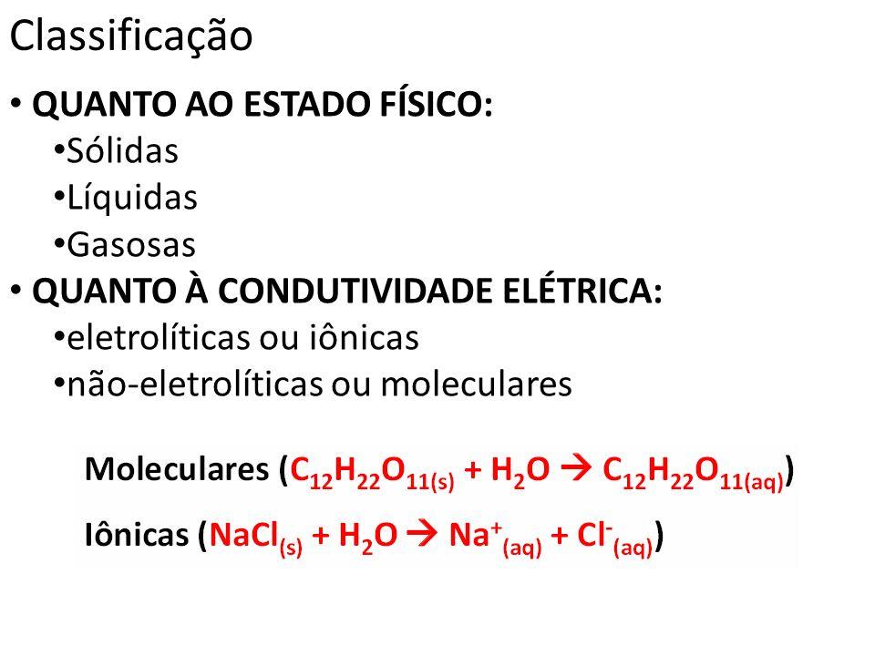 Classificação QUANTO AO ESTADO FÍSICO: Sólidas Líquidas Gasosas QUANTO À CONDUTIVIDADE ELÉTRICA: eletrolíticas ou iônicas não-eletrolíticas ou molecul