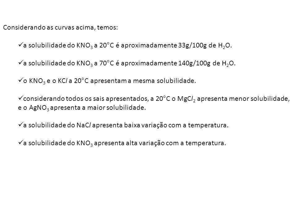 Considerando as curvas acima, temos: a solubilidade do KNO 3 a 20°C é aproximadamente 33g/100g de H 2 O. a solubilidade do KNO 3 a 70°C é aproximadame