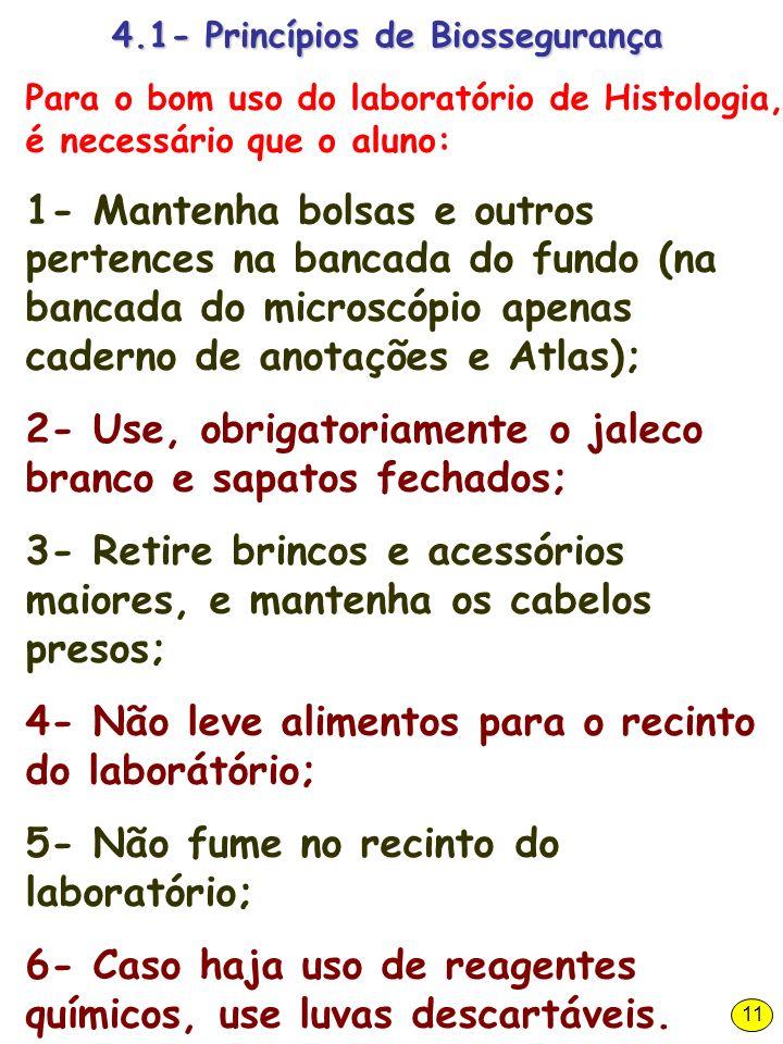 4.1- Princípios de Biossegurança Para o bom uso do laboratório de Histologia, é necessário que o aluno: 1- Mantenha bolsas e outros pertences na banca