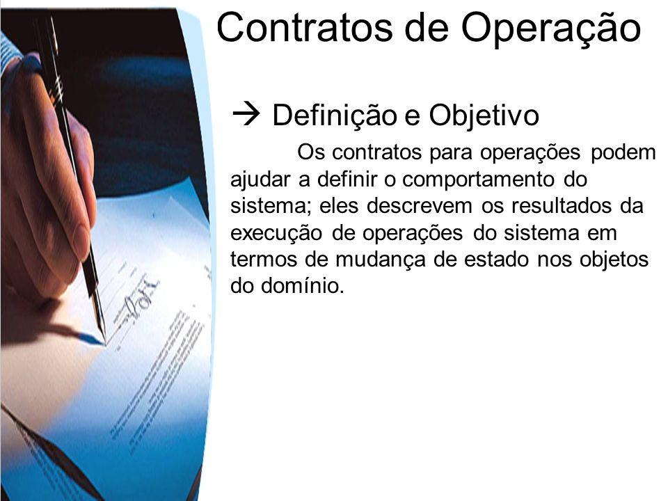 Contratos de Operação Definição e Objetivo Os contratos para operações podem ajudar a definir o comportamento do sistema; eles descrevem os resultados