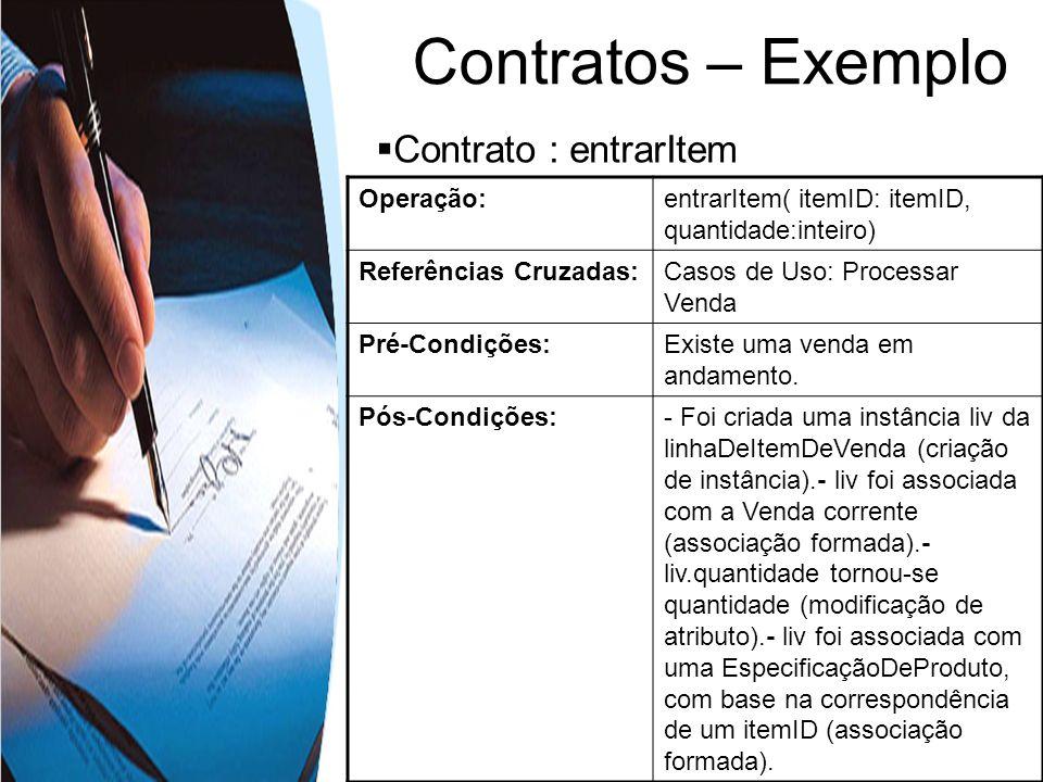 Contratos – Exemplo Contrato : entrarItem Operação:entrarItem( itemID: itemID, quantidade:inteiro) Referências Cruzadas:Casos de Uso: Processar Venda