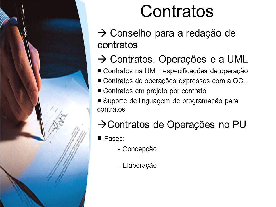 Conselho para a redação de contratos Contratos, Operações e a UML Contratos na UML: especificações de operação Contratos de operações expressos com a