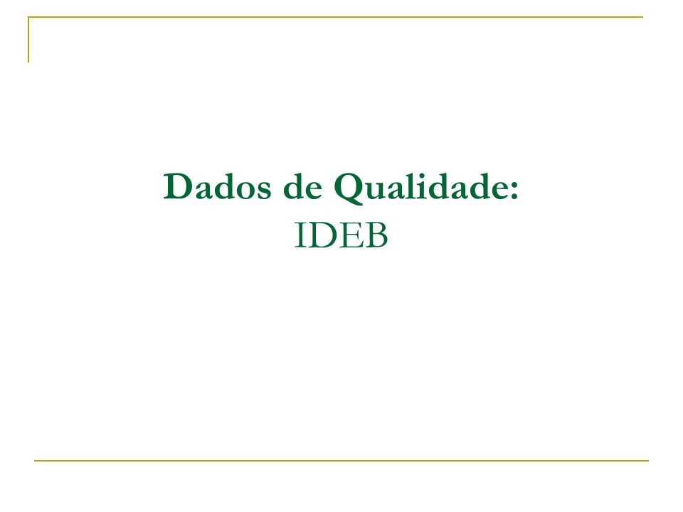Dados de Qualidade: IDEB