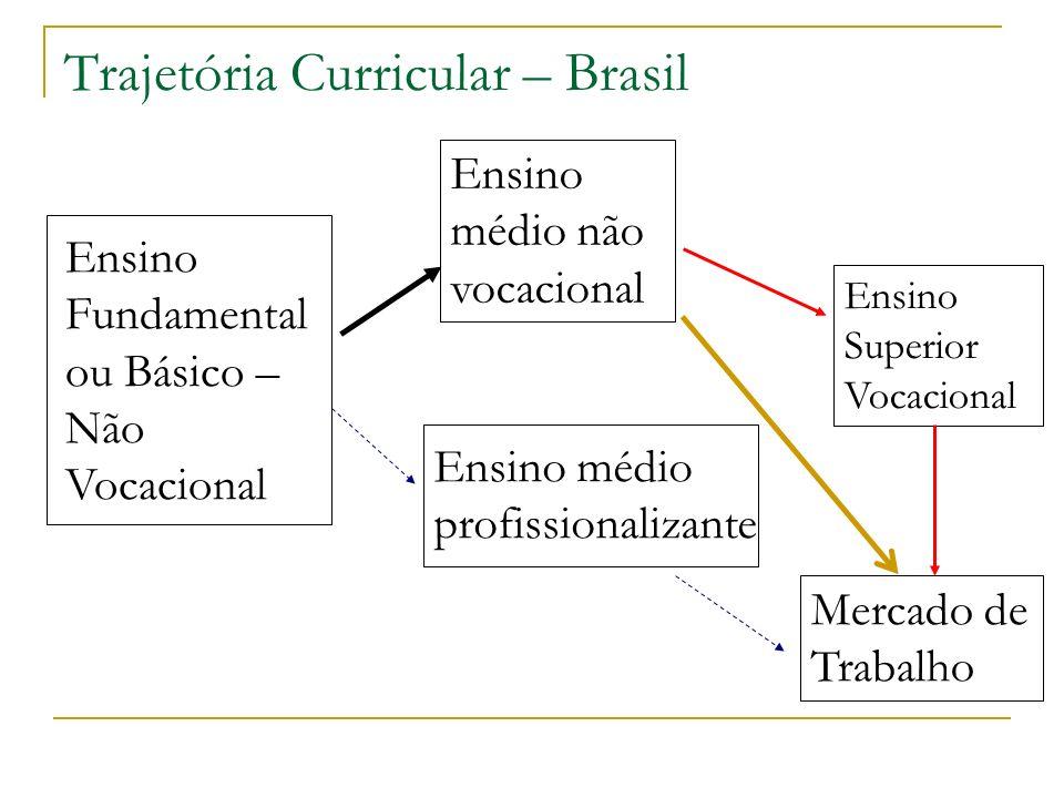 Trajetória Curricular – Brasil Ensino Fundamental ou Básico – Não Vocacional Ensino médio não vocacional Ensino médio profissionalizante Ensino Superi