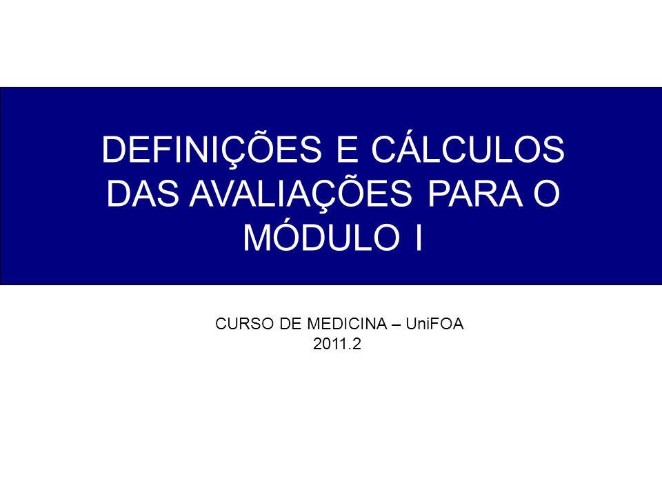 DEFINIÇÕES E CÁLCULOS DAS AVALIAÇÕES PARA O MÓDULO I CURSO DE MEDICINA – UniFOA 2011.2