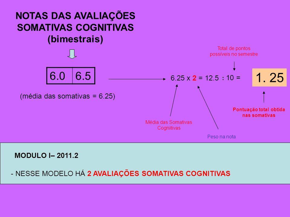 6.06.5 6.25 x 2 = 12.5 10 = 1. 25 Pontuação total obtida nas somativas Peso na nota Média das Somativas Cognitivas (média das somativas = 6.25) NOTAS