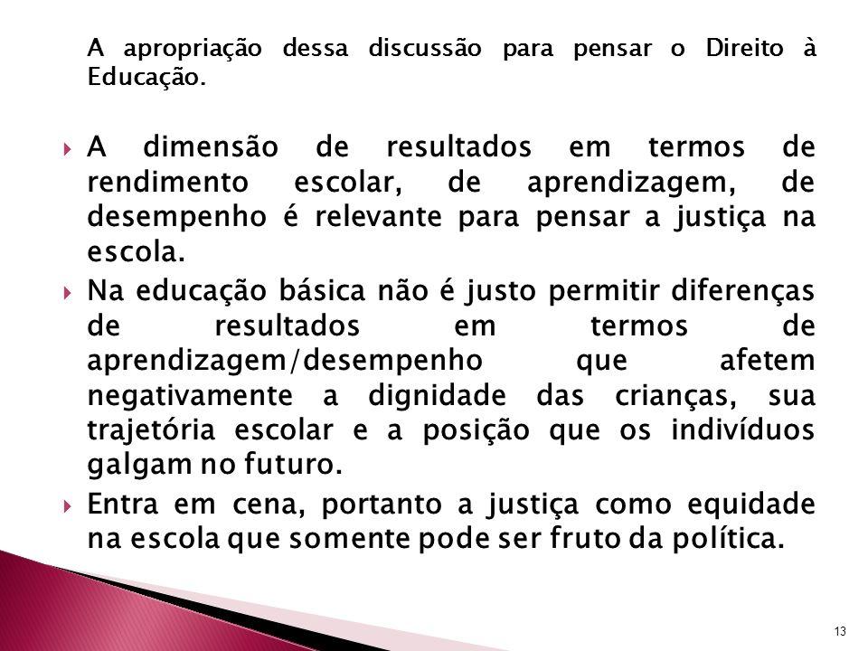 A apropriação dessa discussão para pensar o Direito à Educação. A dimensão de resultados em termos de rendimento escolar, de aprendizagem, de desempen