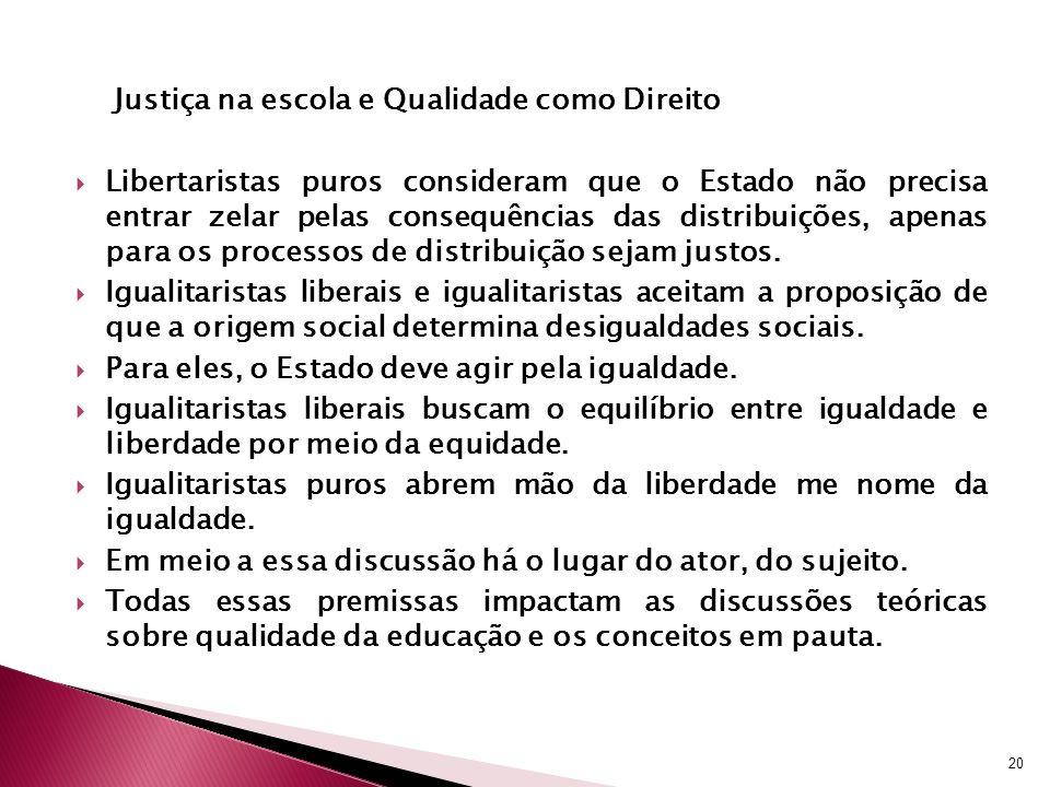 Justiça na escola e Qualidade como Direito Libertaristas puros consideram que o Estado não precisa entrar zelar pelas consequências das distribuições,