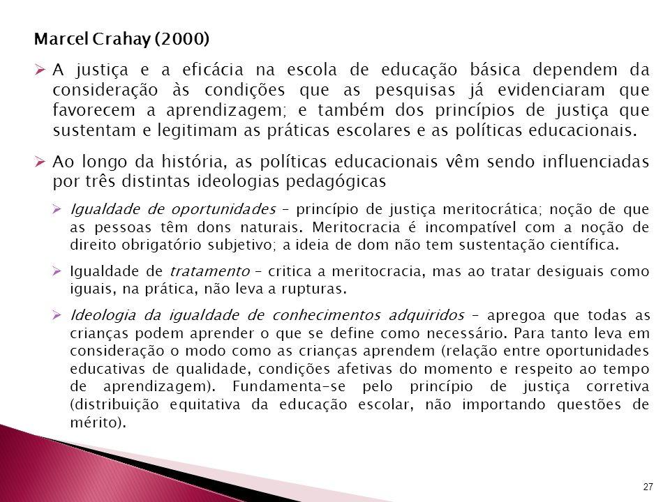Marcel Crahay (2000) A justiça e a eficácia na escola de educação básica dependem da consideração às condições que as pesquisas já evidenciaram que fa