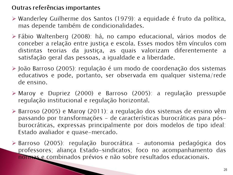 Outras referências importantes Wanderley Guilherme dos Santos (1979): a equidade é fruto da política, mas depende também de condicionalidades. Fábio W