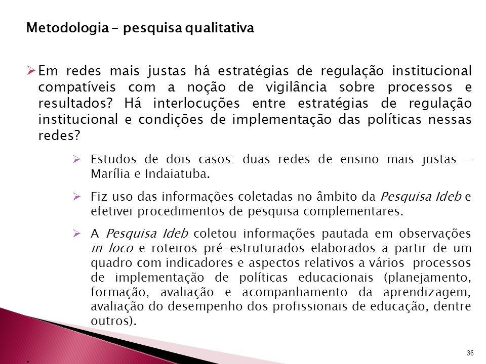 Metodologia – pesquisa qualitativa Em redes mais justas há estratégias de regulação institucional compatíveis com a noção de vigilância sobre processo