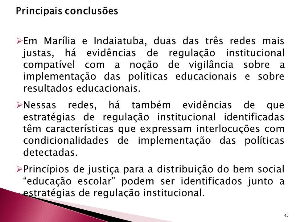 Principais conclusões Em Marília e Indaiatuba, duas das três redes mais justas, há evidências de regulação institucional compatível com a noção de vig