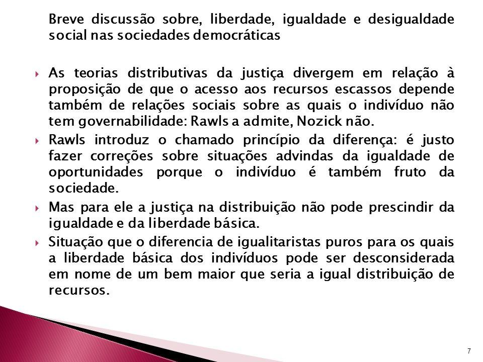 Breve discussão sobre, liberdade, igualdade e desigualdade social nas sociedades democráticas As teorias distributivas da justiça divergem em relação