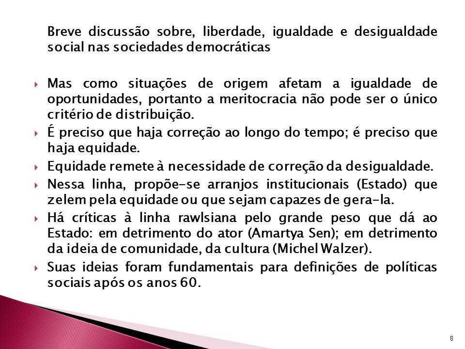 Breve discussão sobre, liberdade, igualdade e desigualdade social nas sociedades democráticas Mas como situações de origem afetam a igualdade de oport
