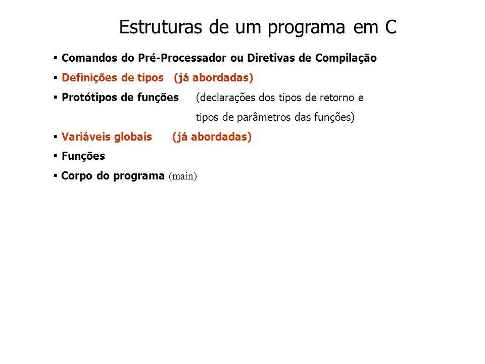 Comandos do Pré-Processador ou Diretivas de Compilação Definições de tipos (já abordadas) Protótipos de funções(declarações dos tipos de retorno e tipos de parâmetros das funções) Variáveis globais (já abordadas) Funções Corpo do programa (main) Estruturas de um programa em C