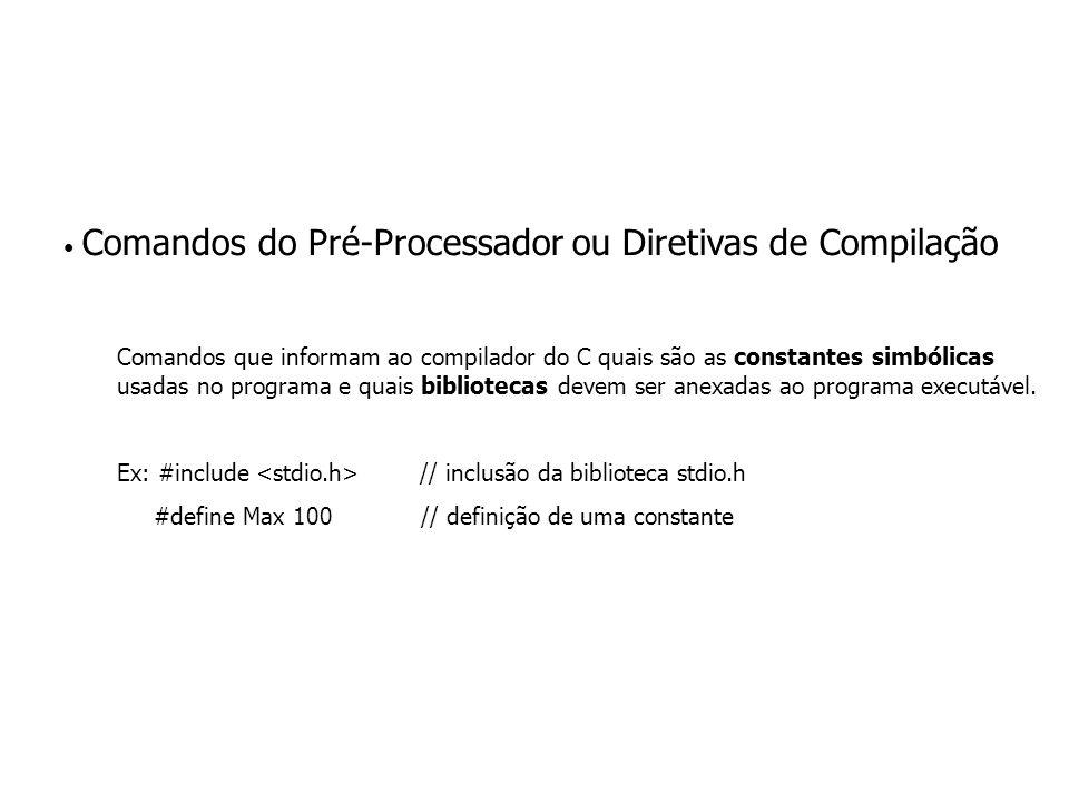 Comandos do Pré-Processador ou Diretivas de Compilação Comandos que informam ao compilador do C quais são as constantes simbólicas usadas no programa e quais bibliotecas devem ser anexadas ao programa executável.