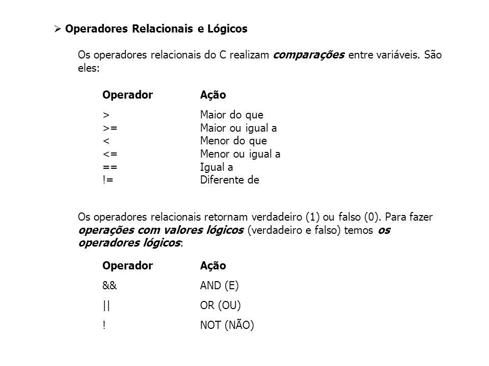 Operadores Relacionais e Lógicos Os operadores relacionais do C realizam comparações entre variáveis.