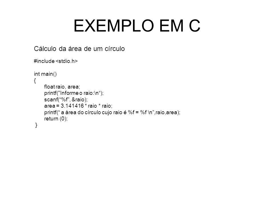 EXEMPLO EM C Cálculo da área de um círculo #include int main() { float raio, area; printf( Informe o raio:\n); scanf(%f, &raio); area = 3.141416 * raio * raio; printf( a área do círculo cujo raio é %f = %f \n,raio,area); return (0); }
