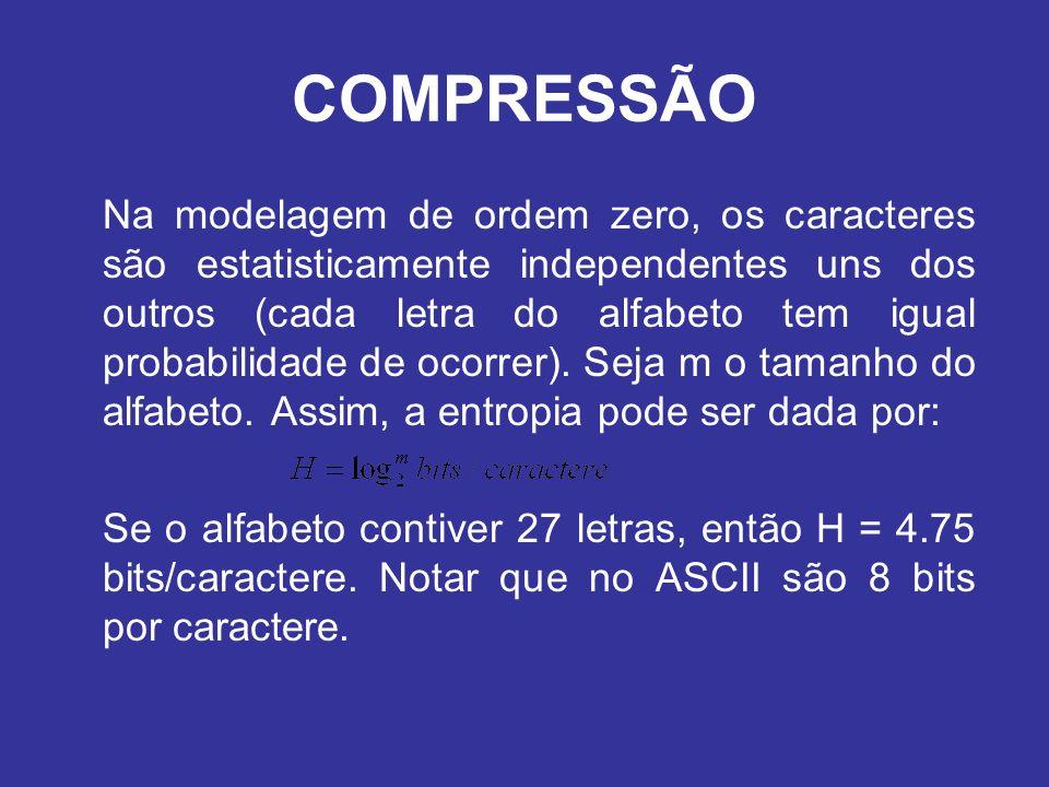 COMPRESSÃO Na modelagem de ordem zero, os caracteres são estatisticamente independentes uns dos outros (cada letra do alfabeto tem igual probabilidade