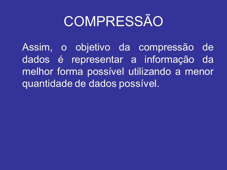 COMPRESSÃO Assim, o objetivo da compressão de dados é representar a informação da melhor forma possível utilizando a menor quantidade de dados possíve