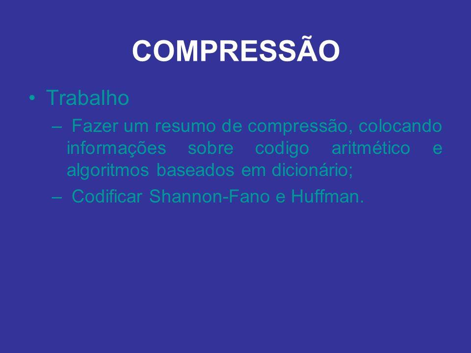 Trabalho – Fazer um resumo de compressão, colocando informações sobre codigo aritmético e algoritmos baseados em dicionário; – Codificar Shannon-Fano