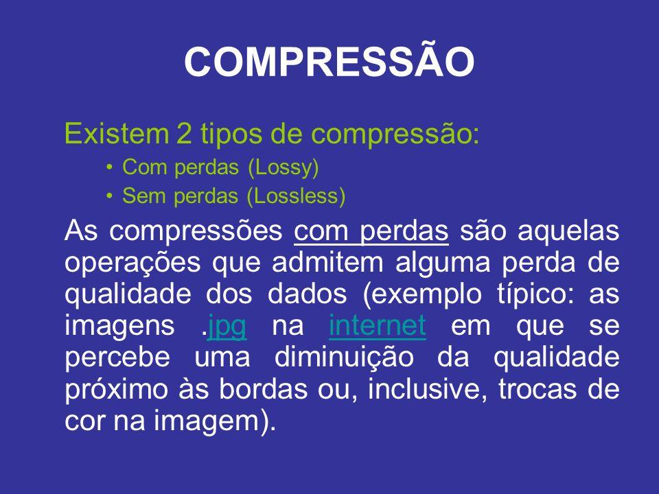 COMPRESSÃO Existem 2 tipos de compressão: Com perdas (Lossy) Sem perdas (Lossless) As compressões com perdas são aquelas operações que admitem alguma