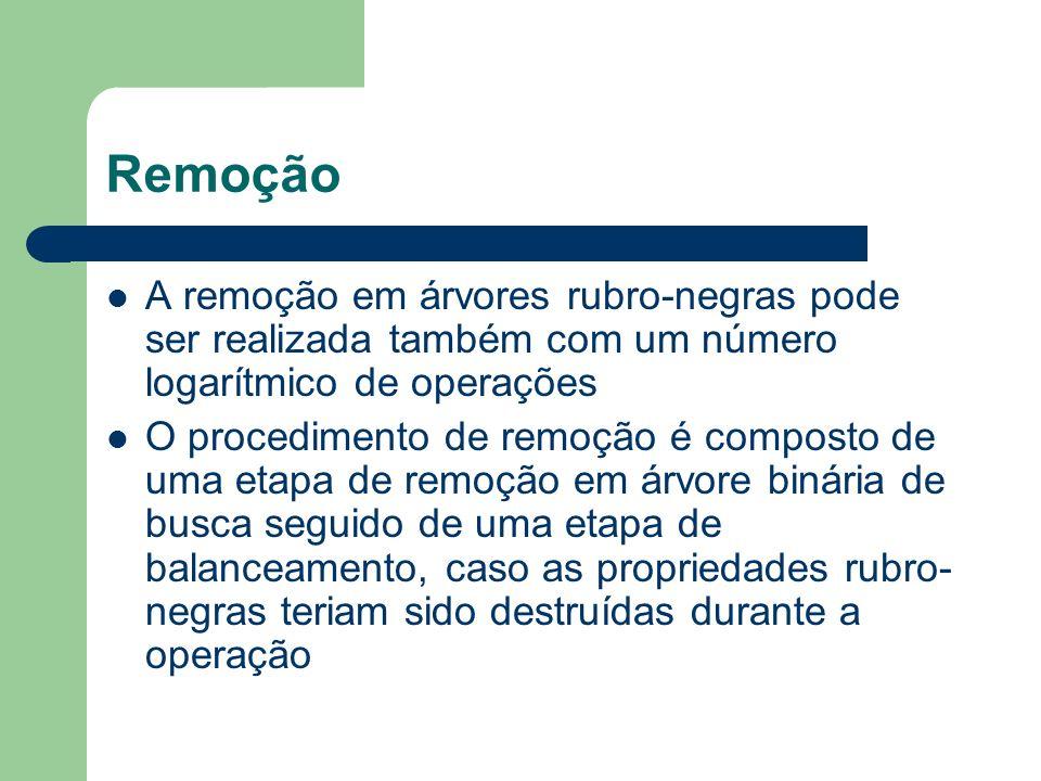 Remoção A remoção em árvores rubro-negras pode ser realizada também com um número logarítmico de operações O procedimento de remoção é composto de uma