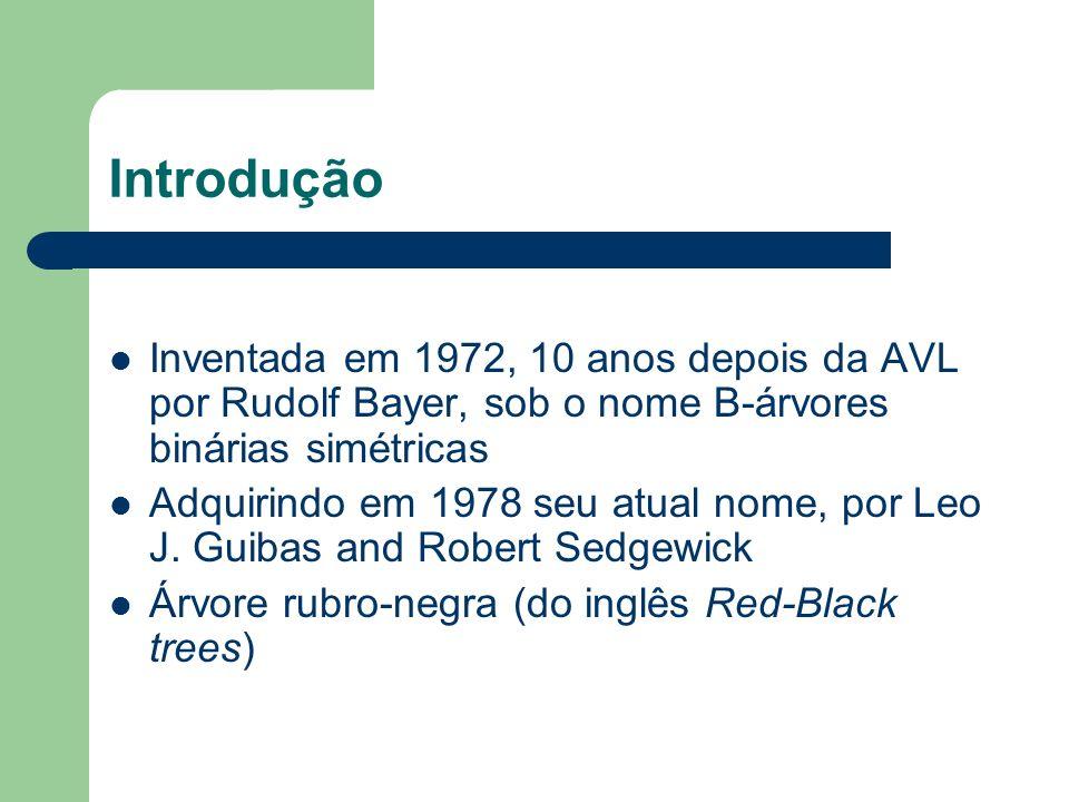 Árvore Rubro-Negra A árvore rubro-negra tem esse nome devido a coloração de seus nós Uma árvore rubro negra (ARN) é uma árvore binária de busca com um campo adicional que armazena se o nó é rubro ou negro O fato de um nó ser rubro ou negro é usado como fator de balanceamento da ARN