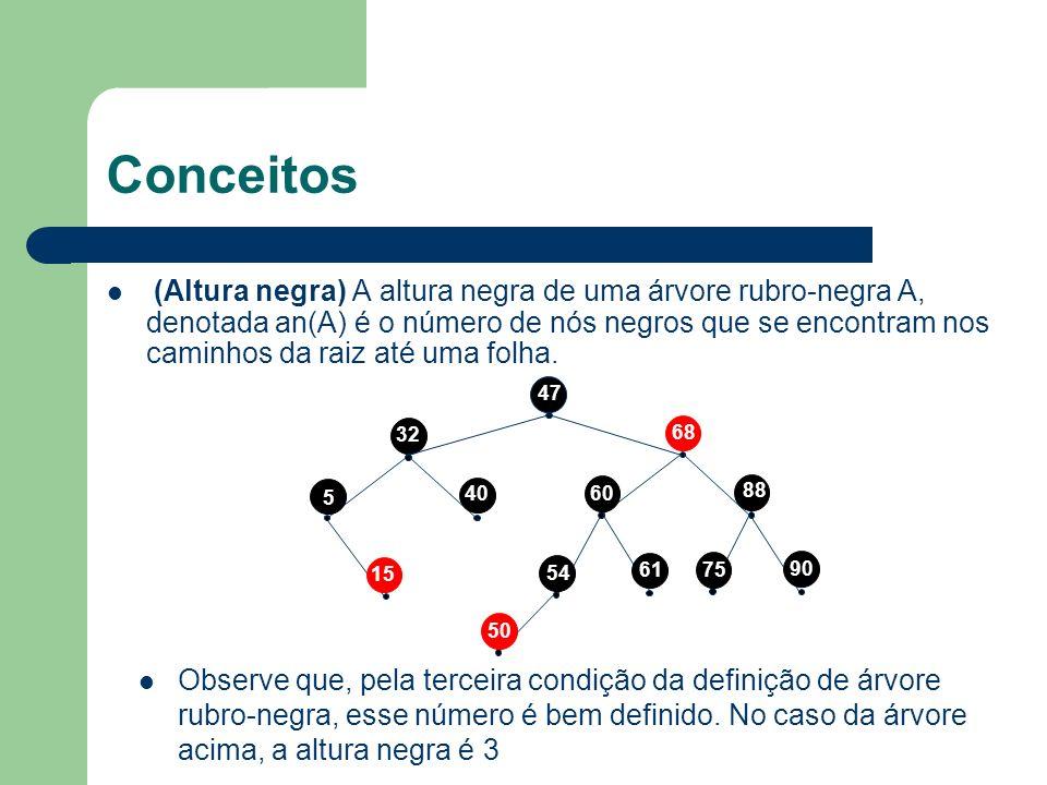 Inserção A complexidade da inserção, que é a da inserção em árvore binária de busca, é logarítmica O pior caso da fase de balanceamento é se tiver que aplicar a inversão de cores até a raiz Como o tamanho do caminho da raiz até qualquer folha é logarítmico, o número de operações também é logarítmico Em conclusão, a complexidade da inserção em árvores rubro-negras é logarítmica