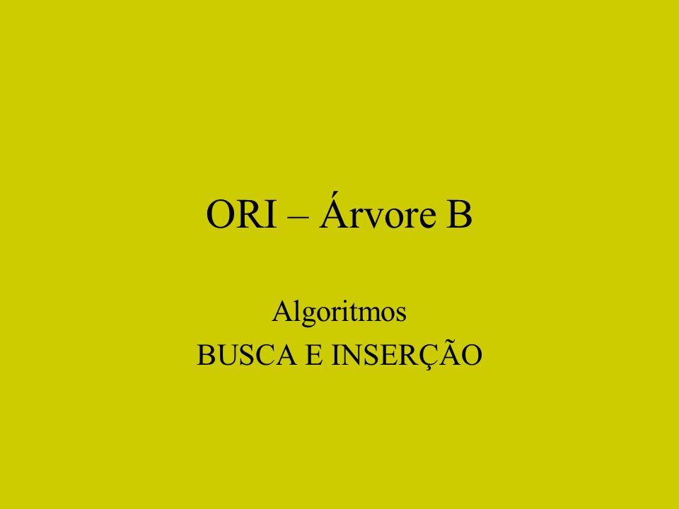 ORI – Árvore B Algoritmos BUSCA E INSERÇÃO