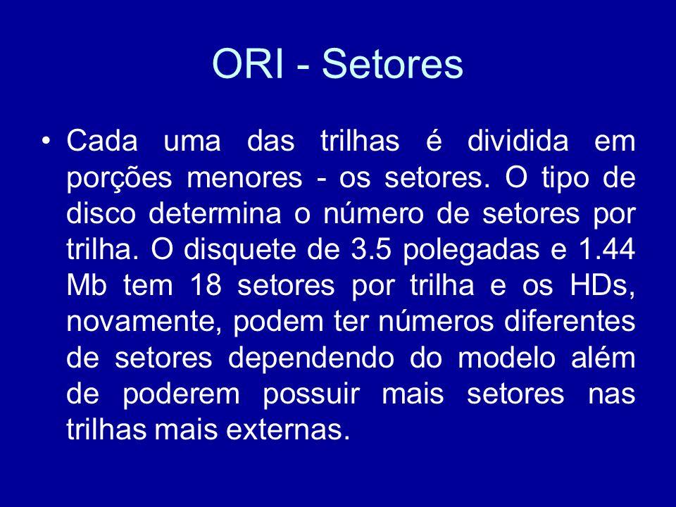 ORI - Setores Cada uma das trilhas é dividida em porções menores - os setores.