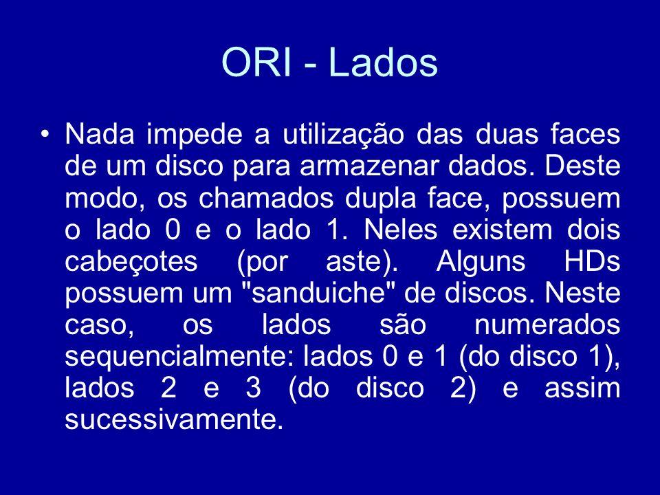 ORI - Lados Nada impede a utilização das duas faces de um disco para armazenar dados.