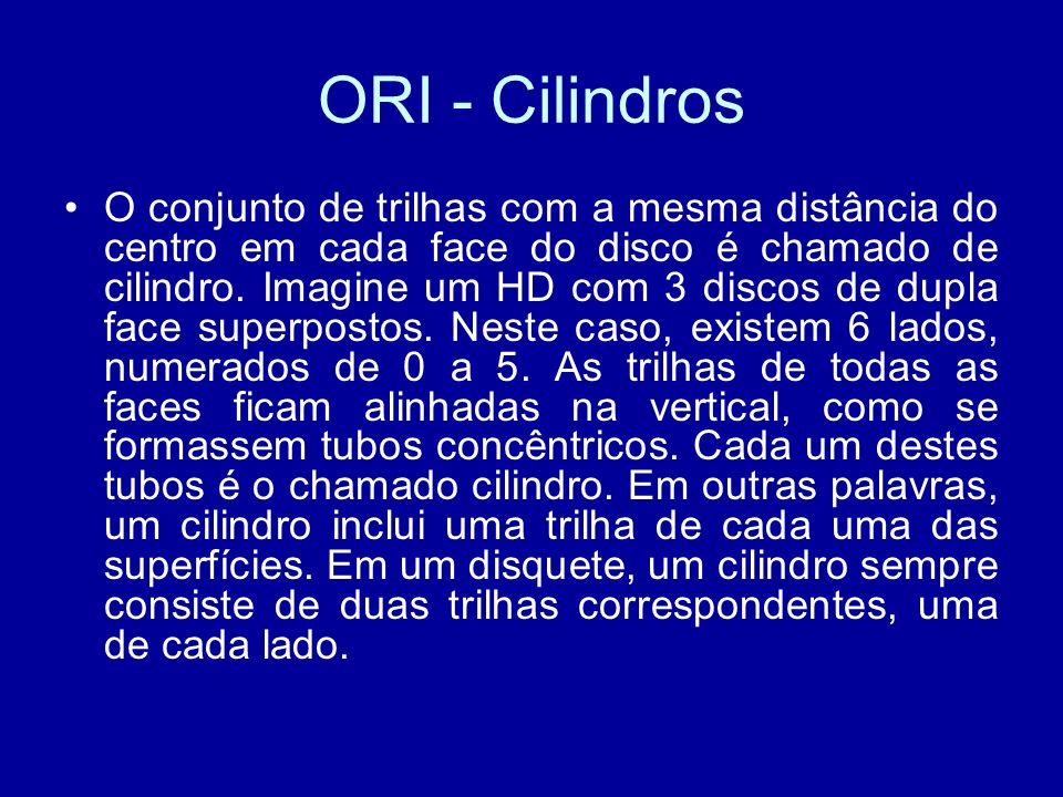 ORI - Cilindros O conjunto de trilhas com a mesma distância do centro em cada face do disco é chamado de cilindro.