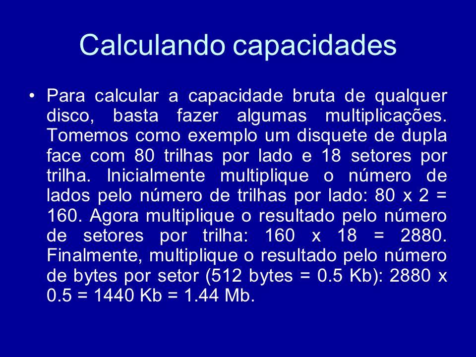 Calculando capacidades Para calcular a capacidade bruta de qualquer disco, basta fazer algumas multiplicações.