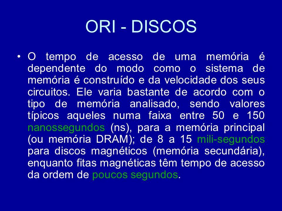ORI - DISCOS O tempo de acesso de uma memória é dependente do modo como o sistema de memória é construído e da velocidade dos seus circuitos.