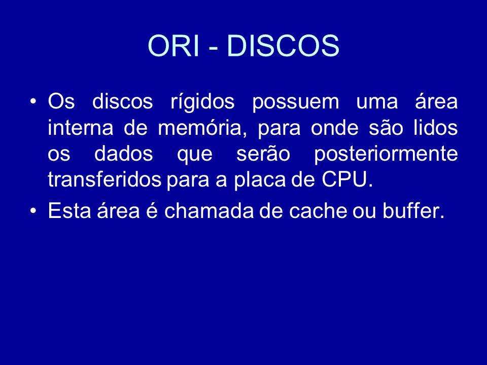 ORI - DISCOS Os discos rígidos possuem uma área interna de memória, para onde são lidos os dados que serão posteriormente transferidos para a placa de CPU.