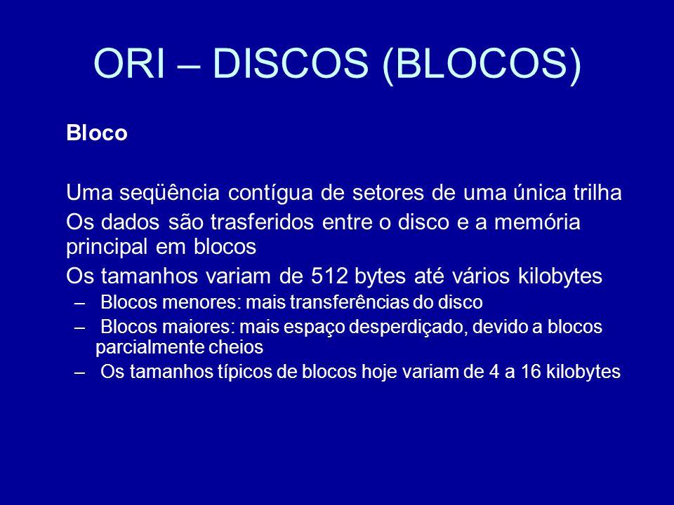 ORI – DISCOS (BLOCOS) Bloco Uma seqüência contígua de setores de uma única trilha Os dados são trasferidos entre o disco e a memória principal em blocos Os tamanhos variam de 512 bytes até vários kilobytes – Blocos menores: mais transferências do disco – Blocos maiores: mais espaço desperdiçado, devido a blocos parcialmente cheios – Os tamanhos típicos de blocos hoje variam de 4 a 16 kilobytes