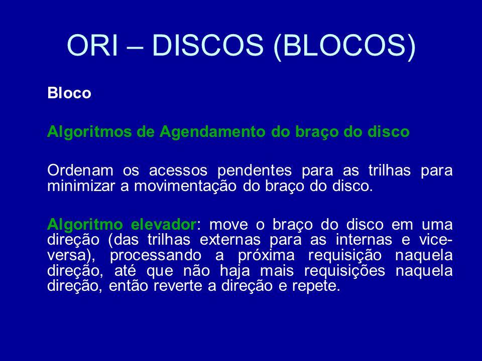 ORI – DISCOS (BLOCOS) Bloco Algoritmos de Agendamento do braço do disco Ordenam os acessos pendentes para as trilhas para minimizar a movimentação do braço do disco.