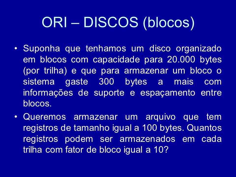 ORI – DISCOS (blocos) Suponha que tenhamos um disco organizado em blocos com capacidade para 20.000 bytes (por trilha) e que para armazenar um bloco o sistema gaste 300 bytes a mais com informações de suporte e espaçamento entre blocos.
