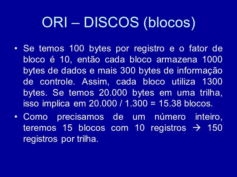 ORI – DISCOS (blocos) Se temos 100 bytes por registro e o fator de bloco é 10, então cada bloco armazena 1000 bytes de dados e mais 300 bytes de informação de controle.