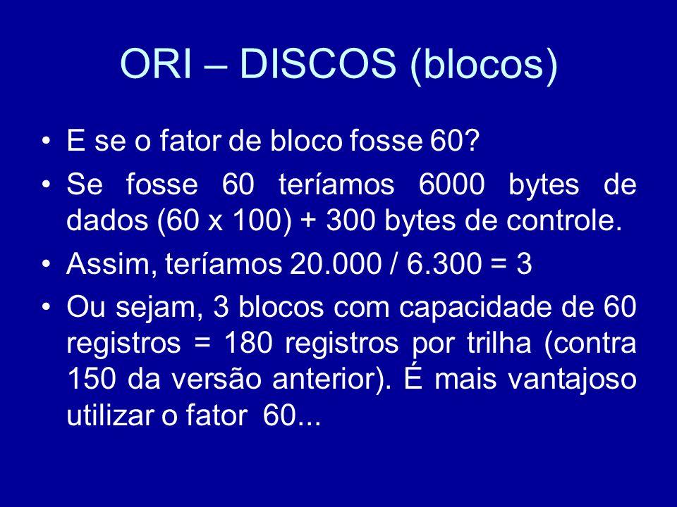 ORI – DISCOS (blocos) E se o fator de bloco fosse 60.