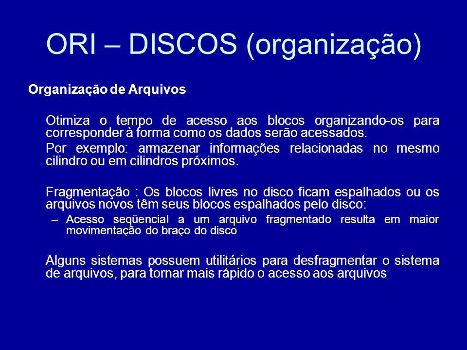 ORI – DISCOS (organização) Organização de Arquivos Otimiza o tempo de acesso aos blocos organizando-os para corresponder à forma como os dados serão acessados.